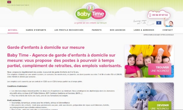 o trouver un emploi de nounou temps plein sur bordeaux baby time emploi et formation bons. Black Bedroom Furniture Sets. Home Design Ideas